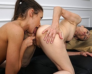 Hot old and young lesbian couple making out
