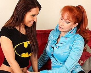Hot British old and young lesbian couple have fun