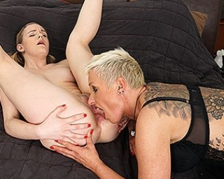 Hot old and young lesbian couple go at it