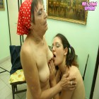 Young hottie and granny in steaming action