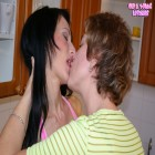 Pussy eating lesbos go at it on the kitchen counter