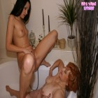Hot teen getting lesbo lessons from grannie