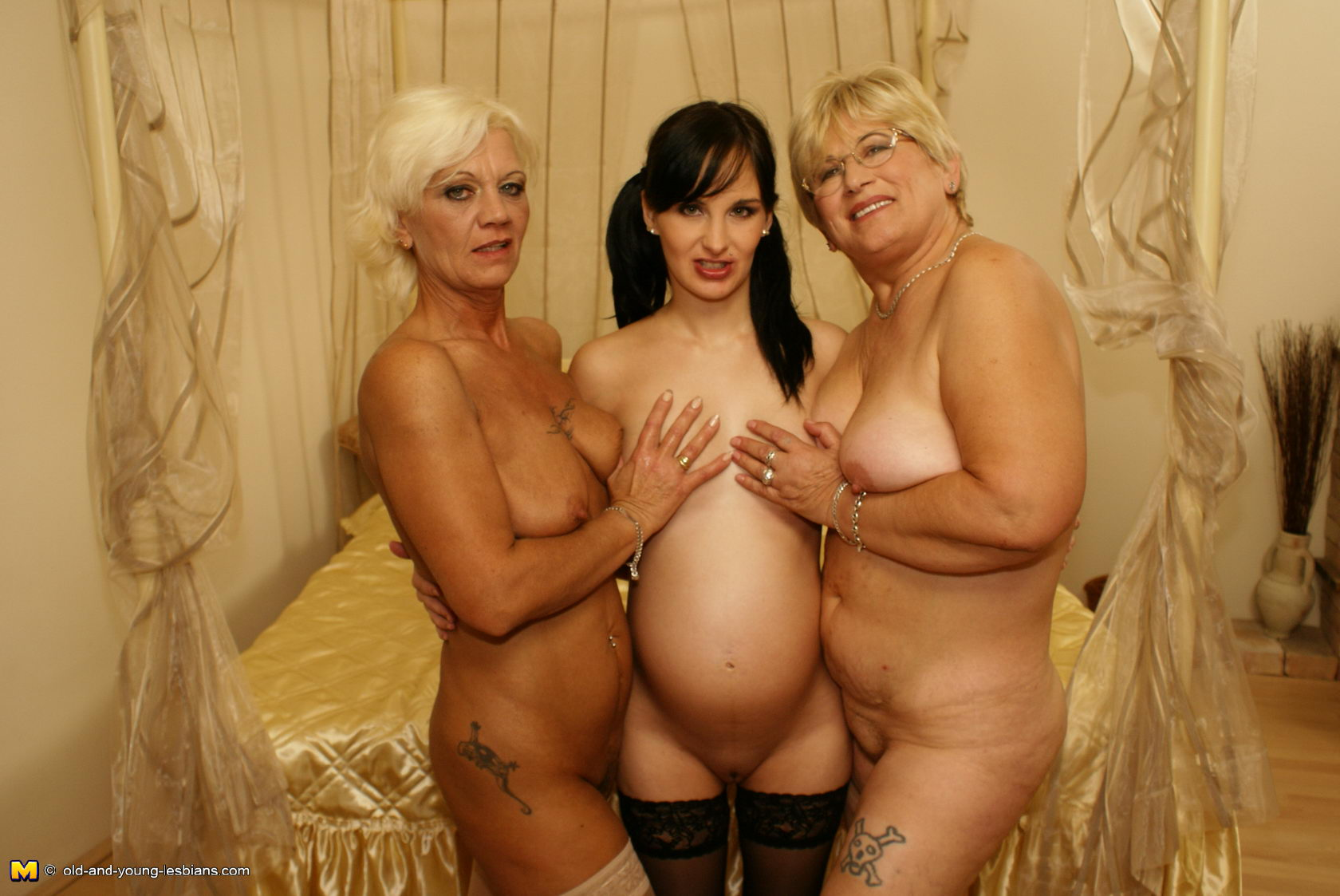 Mature old pregnant and old and young arab
