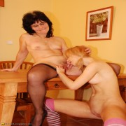Two old and young lesbians getting it on