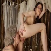 Hot babe doing her way older lesbian girlfriend