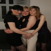Three old and young lesbians get ready to party