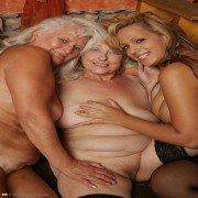 One hot babe doing two mature lesbians