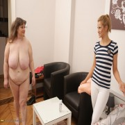 Hot lesbian babe doing her way older girlfriend