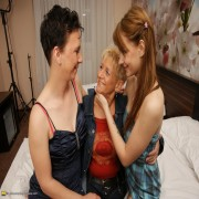 These three old and young lesbians make out