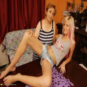 This hot blonde babe loves getting wet with her mature lesbian lover