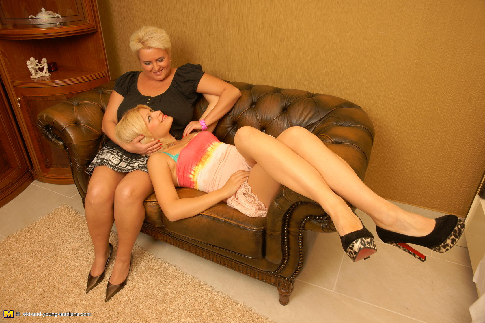 Mature lesbian woman with young girlfriend