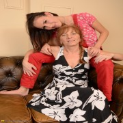 Horny old and young lesbian lovers make out