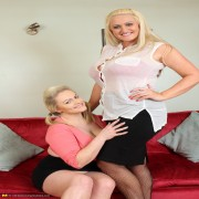 Big breasted old and young British lesbians make out