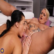 Naughty old and young lesbians make out and then some