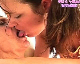Horny granny gets it on with young hottie