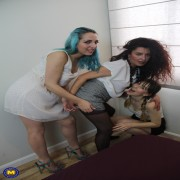 Three spanish old and young lesbians playing together