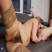 Naughty young babe doing a hairy mature lesbian