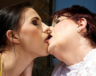 image Three lesbians in hot dildoing action
