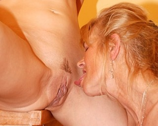 Two blonde old and young lesbians have fun