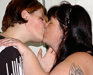 Chunky lesbians playing and licking