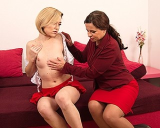 Naughty old and young lesbians playing with a duo dong