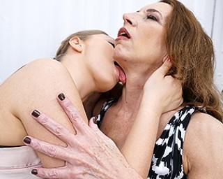 Naughty old and young lesbians playing with herself