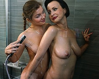 Naughty old and youn glesbians have fun in the shower