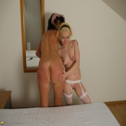 This blonde teen loves mature pussy