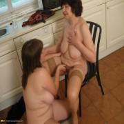 Chubby girl gets licked by a mature lesbian