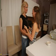 Hot old and young lesbians make out in the kitchen