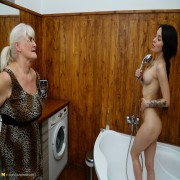 This hot babe gets some naughty old and young lesbian sex