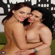 Naughty old and young lesbian couple fooling around