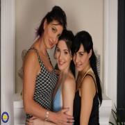 Three old and young lesbians have fun with eachother