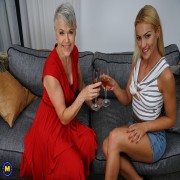 Two horny old and young lesbians go all the way