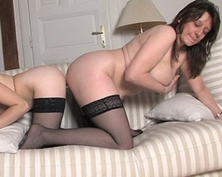Big titted mama getting licked by the girl next door