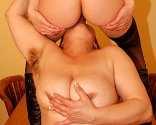 Horny babe doing her way older girlfriend